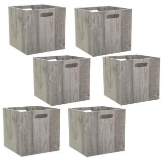 Lot de 6 Boîtes de rangement design bois Mix n' modul - L. 30 x l. 30 cm - Couleur chêne gris