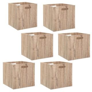 Lot de 6 Boîtes de rangement design bois Mix n' modul - L. 30,5 x l. 30,5 cm - Couleur chêne naturel