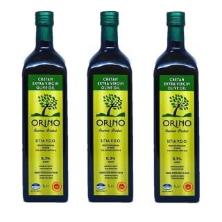 Lot 3x Huile d'olive Bio grecque extra vierge AOP - Orino - bouteille 1l