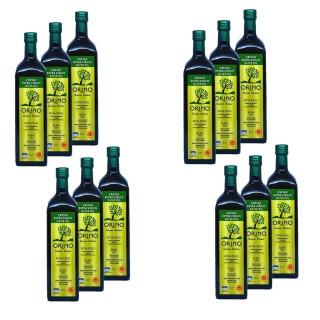 Lot 12x Huile d'olive Bio grecque extra vierge AOP - Orino - bouteille 1l